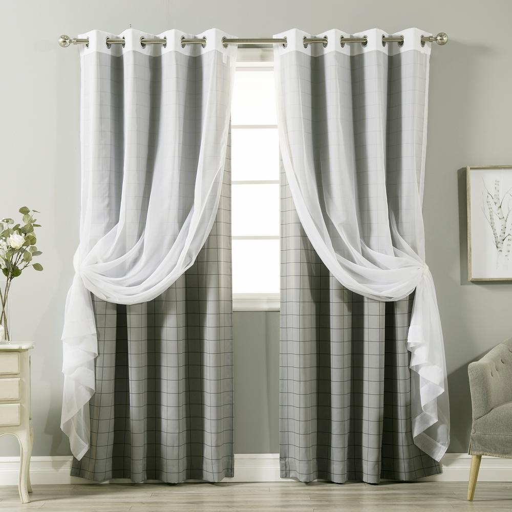 best home fashion 84 in l umixm tulle and grey checkered. Black Bedroom Furniture Sets. Home Design Ideas
