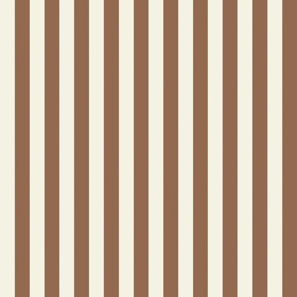 The Wallpaper Company 8 in. x 10 in. Brown and White Slender Stripe Wallpaper Sample-DISCONTINUED