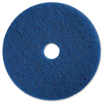 20 in. Medium-Duty Blue Scrubbing Floor Pad (5 per Carton)
