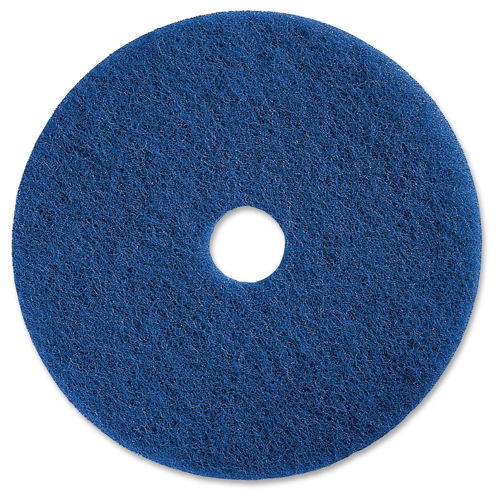 20 in. Medium-Duty Blue Scrubbing Floor Pad (5 per Carton)