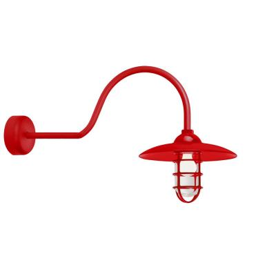 Retro Industrial 30 in. Arm 1-Light Red Clear Glass Lens Outdoor Wall Mount Sconce