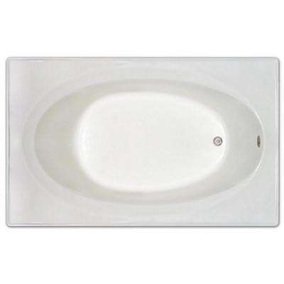 6 ft. Rectangular Reversible Drain Drop-In Non-Whirlpool Bathtub in White