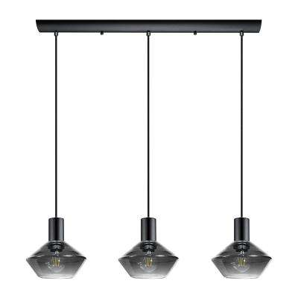 Ponzano 3-Light Black Chrome Multi Pendant