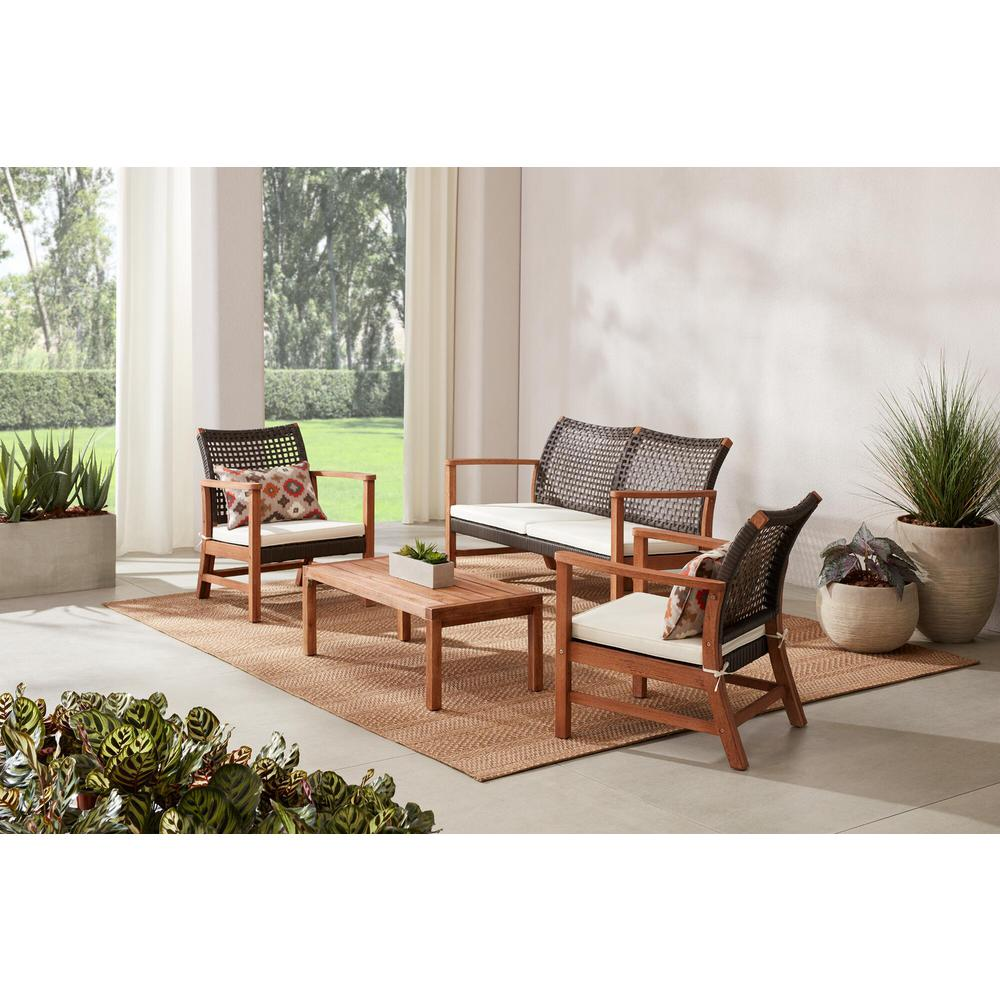 Hampton Bay Clover Cay 4-Piece Wicker Outdoor Patio Conversation Seating Set With Off-White Cushions was $599.0 now $399.0 (33.0% off)