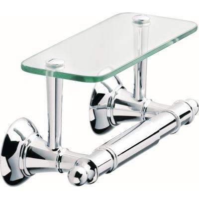 Toilet Paper Holder with Glass Shelf in Polished Chrome