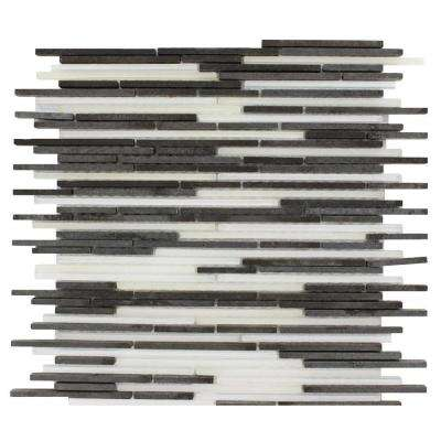 Tetris Stylus Basalt 11 in. x 13 in. x 8 mm Marble Glass Floor and Wall Tile
