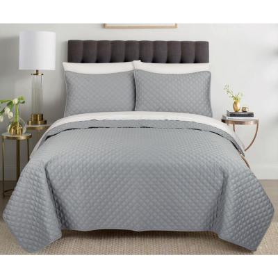 Palazzo 3-Piece Cotton Gray Queen Quilt Set