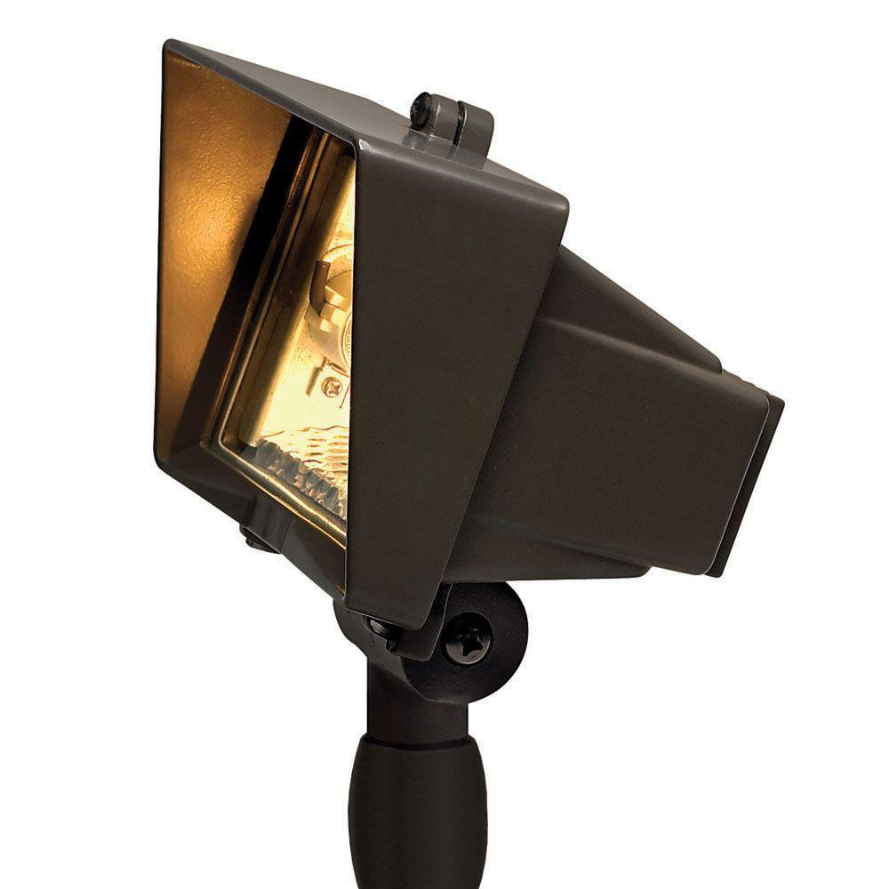 Low-Voltage 50-Watt Bronze T4-Flood Light with Clear Lens