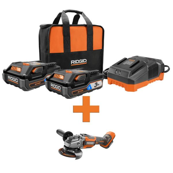 RIDGID 18-Volt OCTANE Lithium-Ion (2) 3.0 Ah Batteries and Charger Kit w/Bonus OCTANE Brushless 4-1/2 in. Angle Grinder