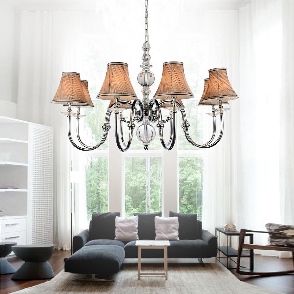 CWI Lighting Curves 8-Light Chrome Chandelier With Beige