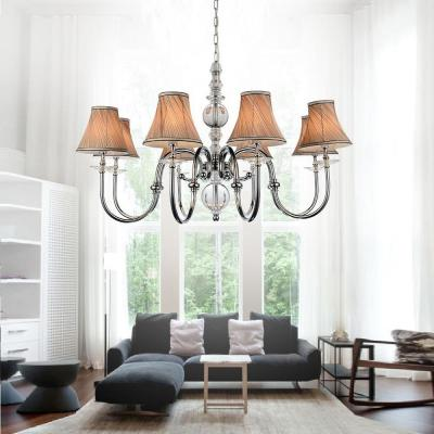 Curves 8-Light Chrome Chandelier with Beige Shade