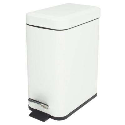 1.32 Gal. Stainless Steel Slim Trash Can with White