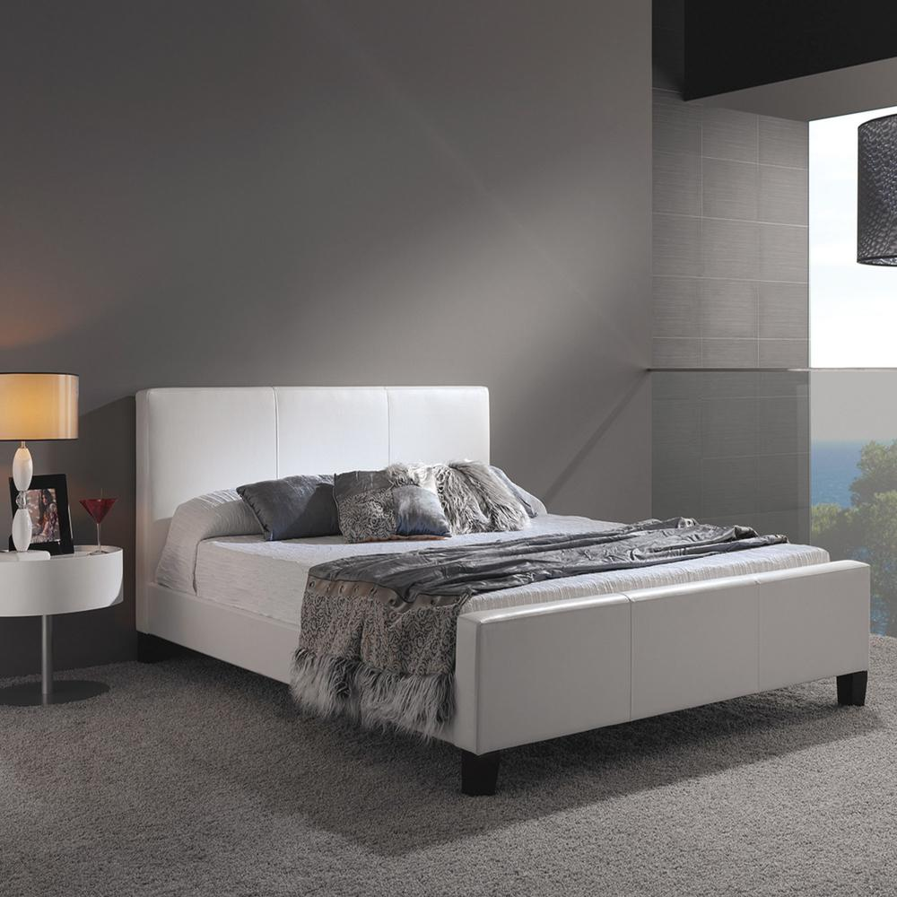 Euro White Full-Size Platform Bed with Side Rails and Soft Upholstered