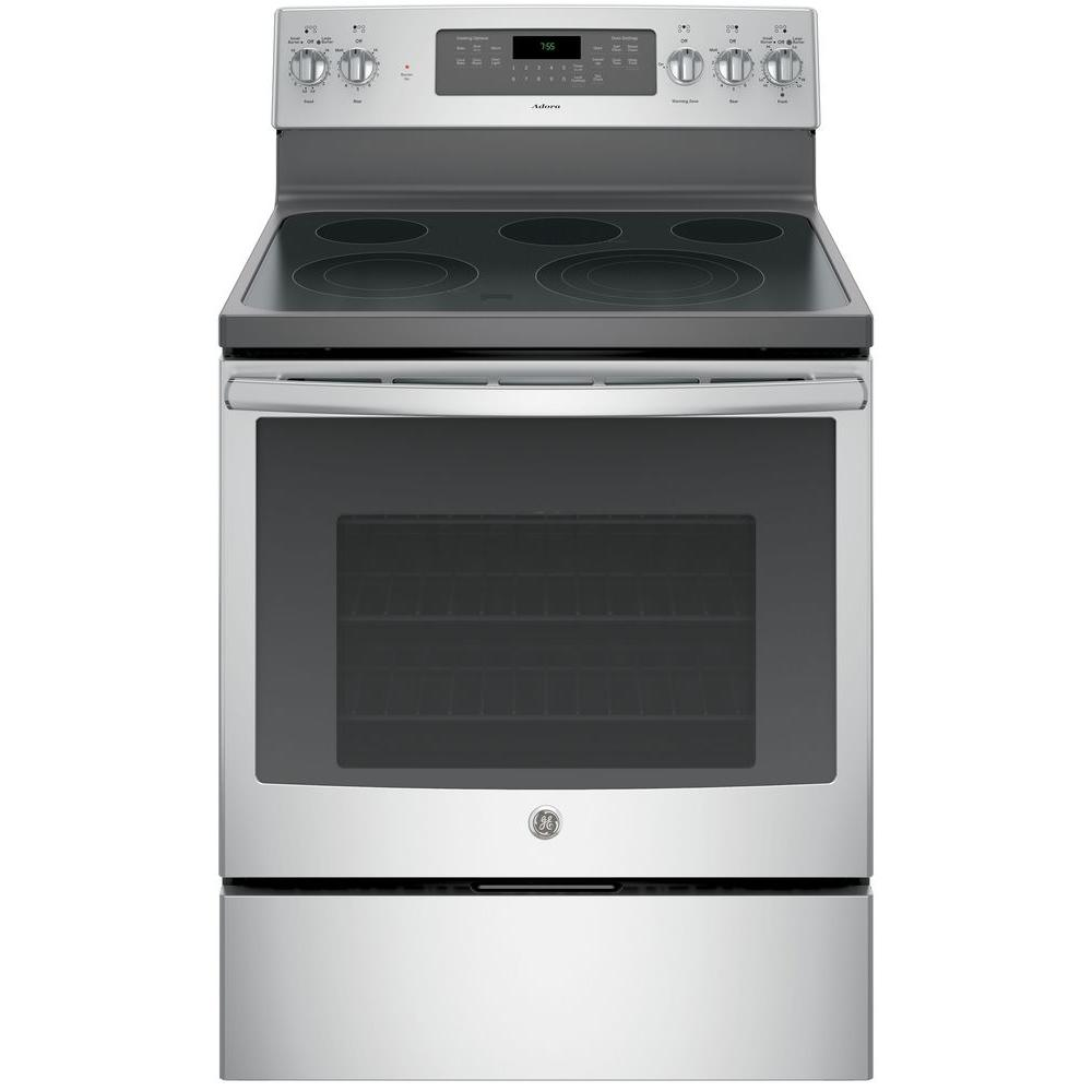 GE Adora 5.3 cu. ft. Electric Ran with Self-Cleaning Convection Oven in Stainless Steel, Silver was $1059.0 now $727.2 (31.0% off)