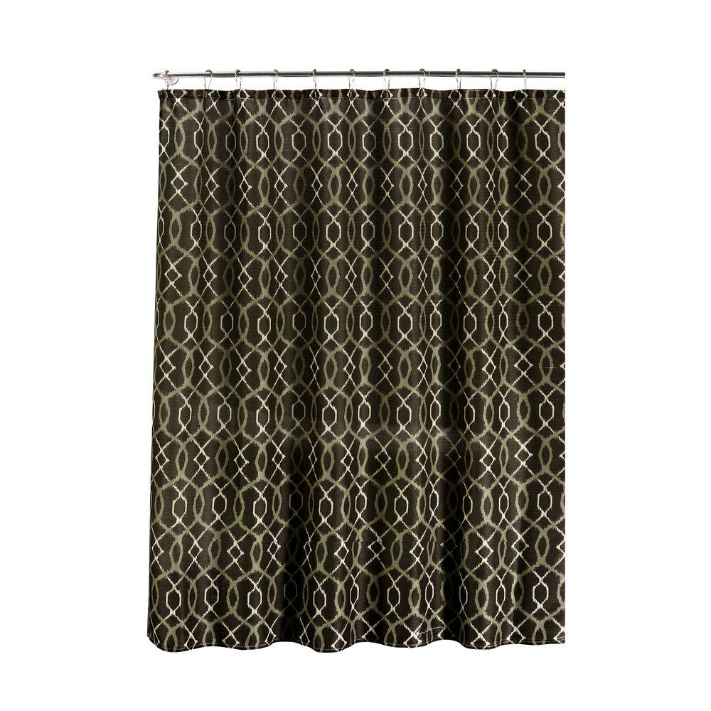 Faux Linen Textured 70 In W X 72 L Shower Curtain With Metal Roller Rings Ikat Geo Espresso