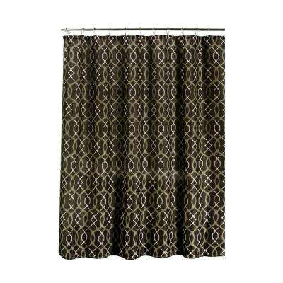 Faux Linen Textured 70 in. W x 72 in. L Shower Curtain with Metal Roller Rings in Ikat Geo Espresso