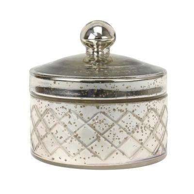 5 in. x 5 in. Antique Mercury Round Textured Glass Trinket Box