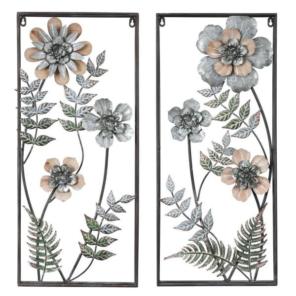 Winsome House 2 Piece Metal Flower Wall Art Panels Wha949 The Home Depot