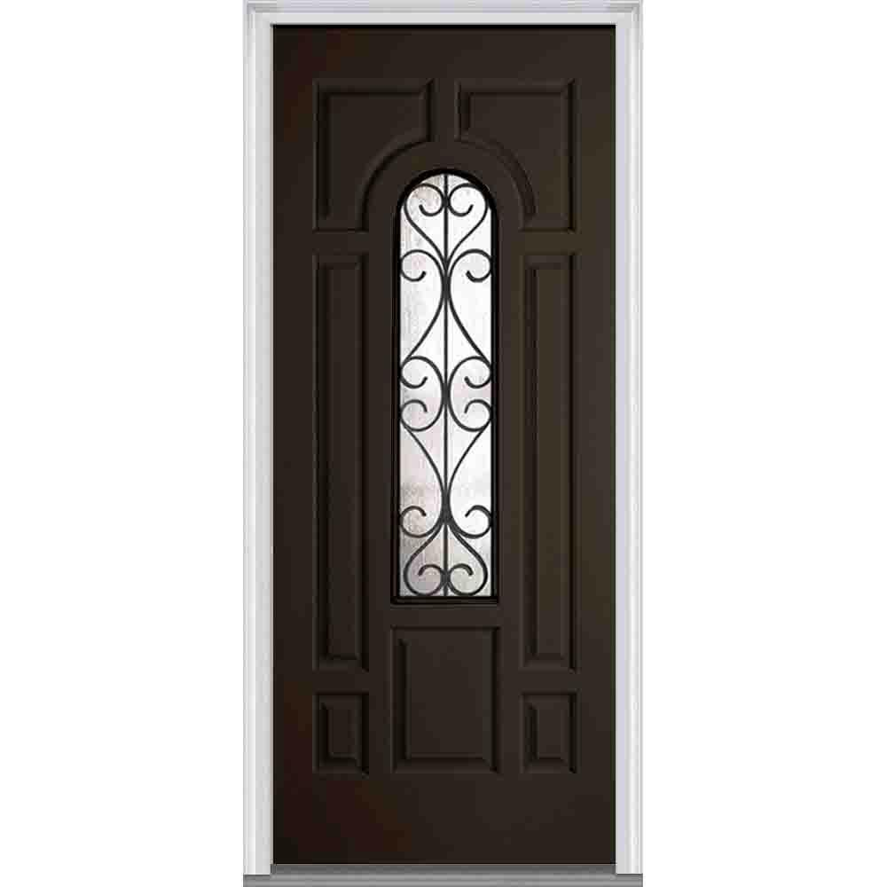 36 in. x 80 in. Camelia Left-Hand Center Arch Lite Decorative