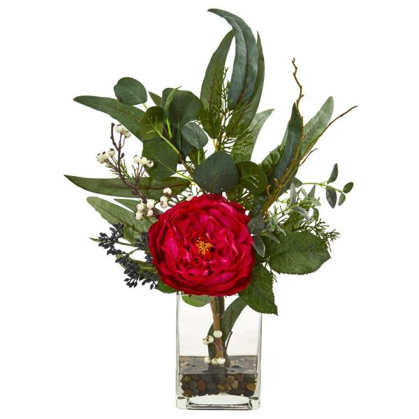 Nearly Natural 21 in. Indoor Rose and Eucalyptus Artificial Arrangement 1765-RD