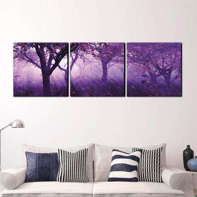 "24 in. x 72 in. ""Purple Trees"" Printed Wall Art"
