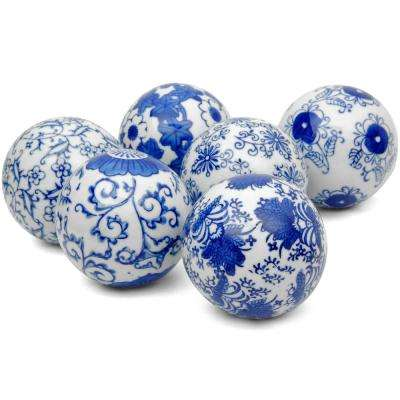 Oriental Furniture 3 in. Blue and White Decorative Porcelain Ball Set