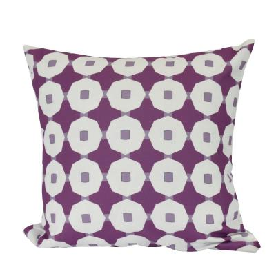 Button Up Purple Geometric 18 in. x 18 in. Throw Pillow