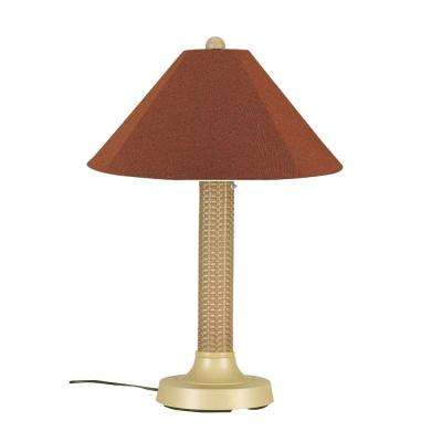 Bahama Weave 34 in. Mojavi Outdoor Table Lamp with Chile Linen Shade