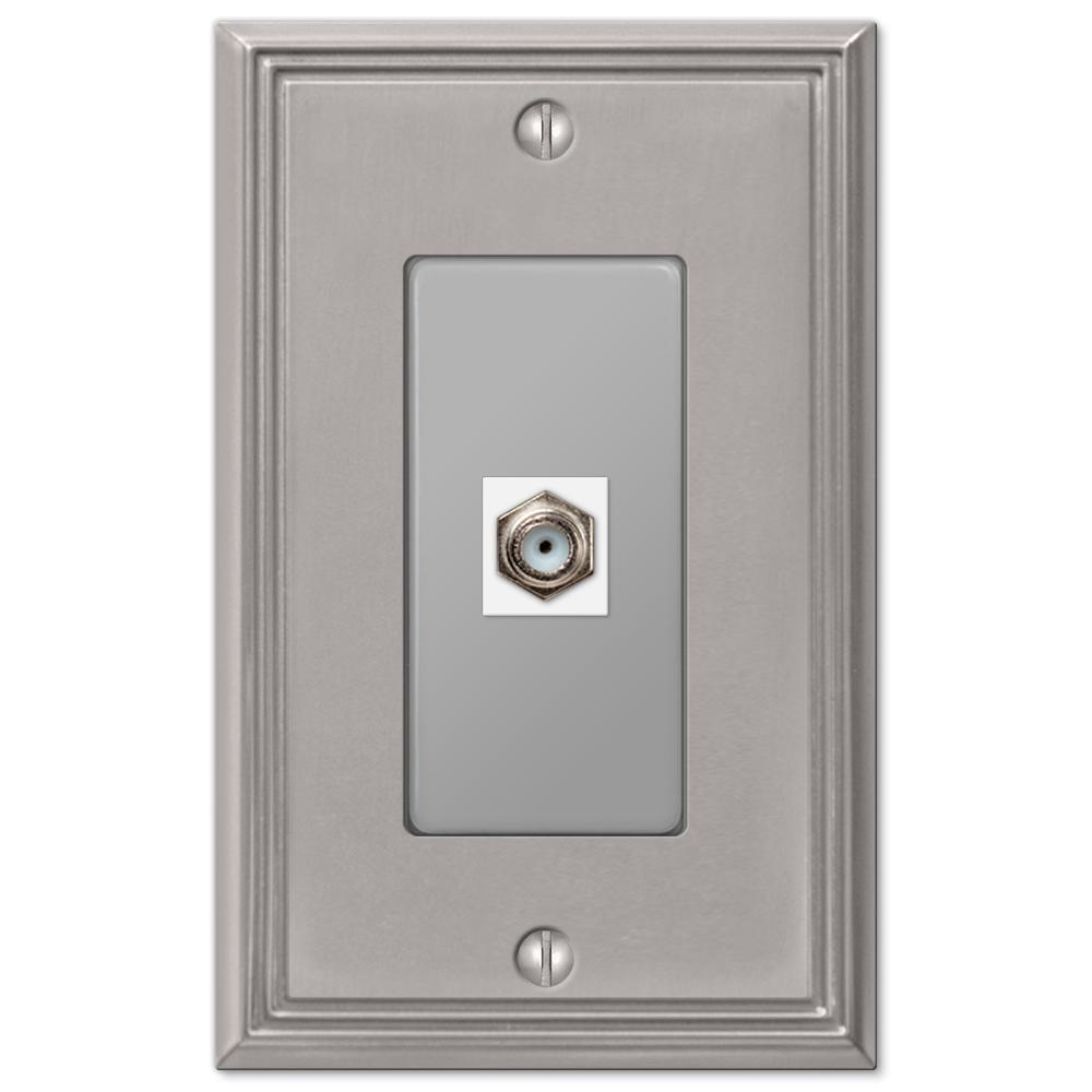 Rhodes 1 Gang Coax Metal Wall Plate - Brushed Nickel