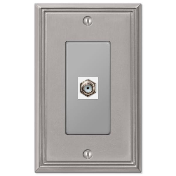 Rhodes 1 Gang Coax Metal Wall Plate - Brushed Nickel