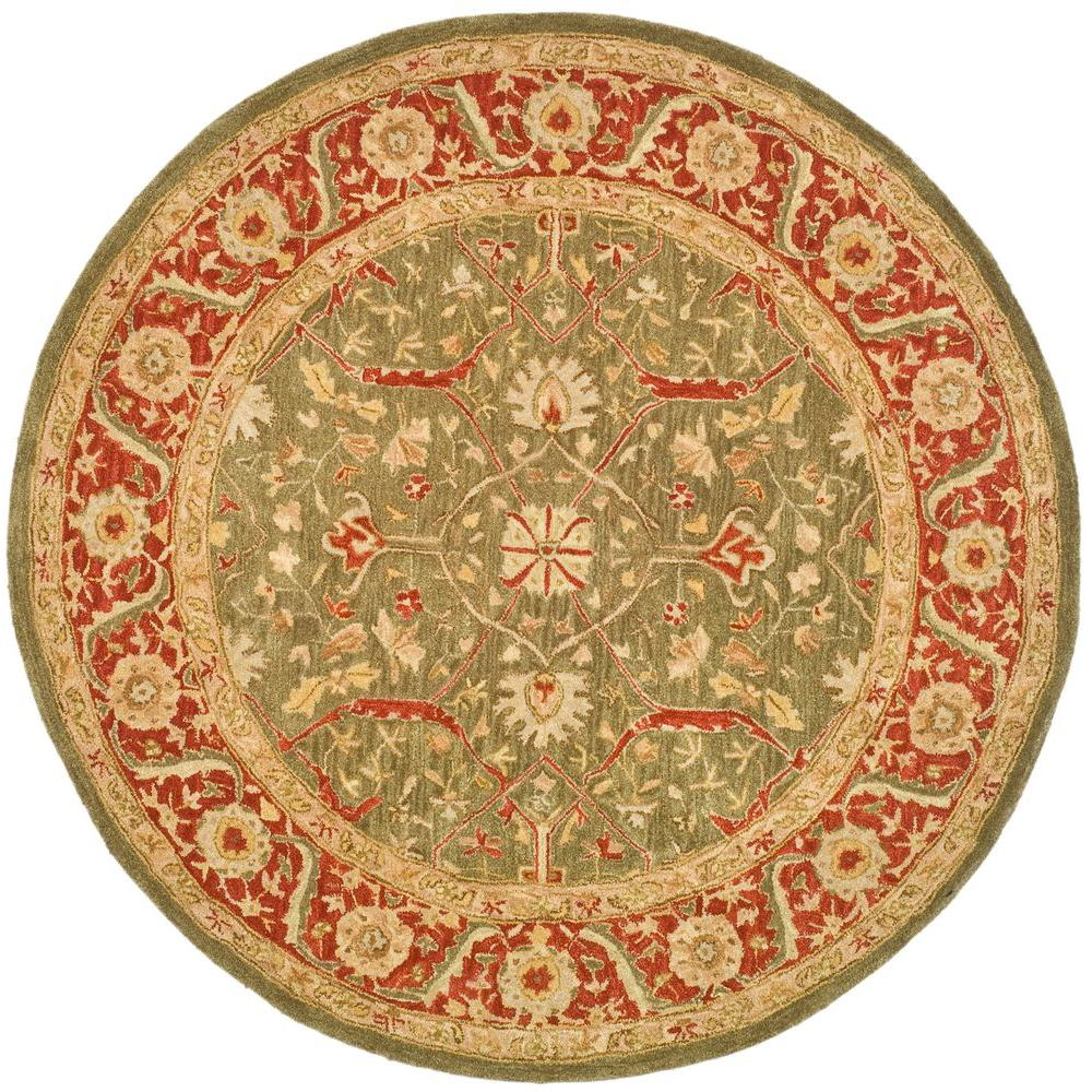 Safavieh Anatolia Green/Red 4 ft. x 4 ft. Round Area Rug