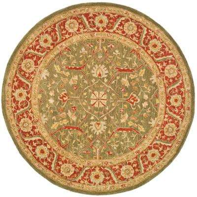 Anatolia Green/Red 4 ft. x 4 ft. Round Area Rug