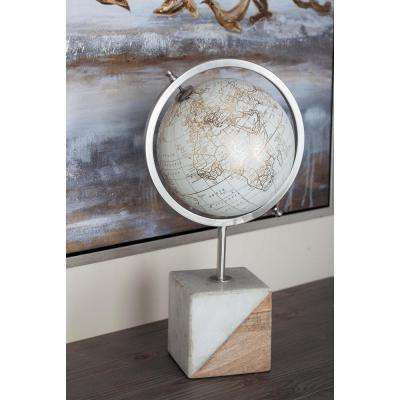 18 in. New Traditional Iron, Marble and Mango Wood Decorative Globe