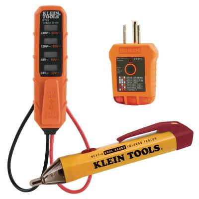 AC/DC Voltage Tester, Dual-Range Non-Contact Voltage Tester and Outlet Tester Tool Set (3-Piece)