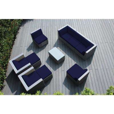 Gray 10-Piece Wicker Patio Seating Set with Sunbrella Navy Cushions