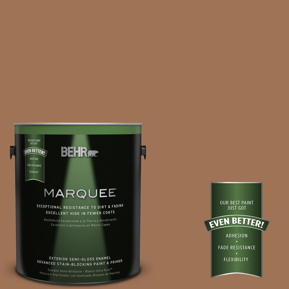 BEHR MARQUEE 1-gal. #S240-6 Ranch Brown Semi-Gloss Enamel Exterior Paint