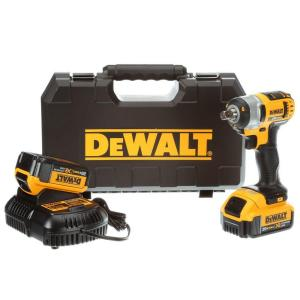 Dewalt 20-Volt MAX Lithium-Ion Cordless 1/2 inch Impact Wrench Kit with (2) Batteries 4Ah, Charger and Case by DEWALT