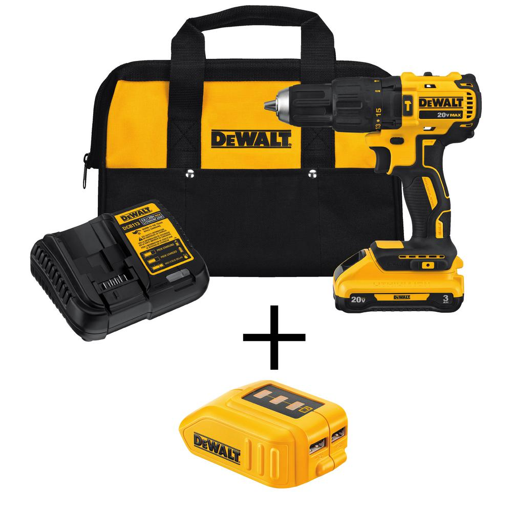 DeWalt 20-Volt MAX Lithium-Ion Cordless Brushless 1/2 in. Compact Hammer Drill with Bonus 12-Volt/20-Volt Max USB Power Source