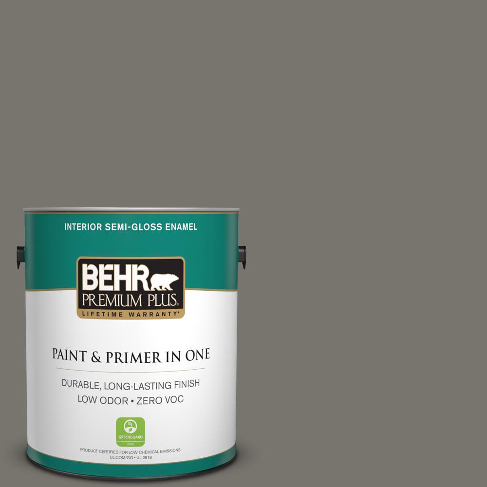 1 gal. #PPU24-06 Slippery Shale Zero VOC Semi-Gloss Enamel Interior Paint