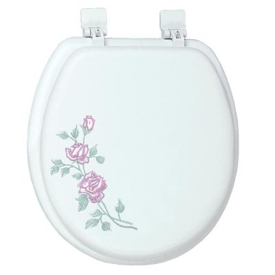 Ginsey Round Closed Front Embroidered Soft Toilet Seat in Rose Garden
