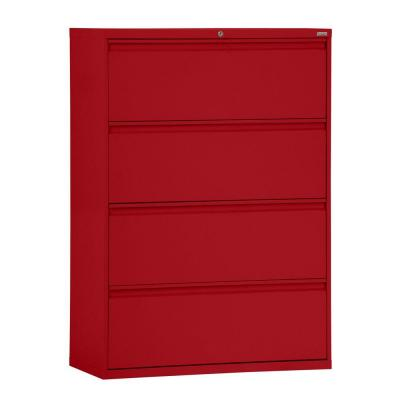 800 Series 4-Drawer Red Full Pull Lateral File Cabinet