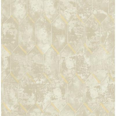 Whitney Metallic Silver and Off-White Geometric Wallpaper
