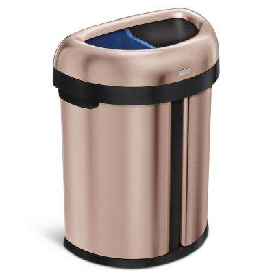 17.4 Gal. Dual Compartment Semi-Round Open Top Heavy-Gauge Rose Gold Stainless Steel Trash Can