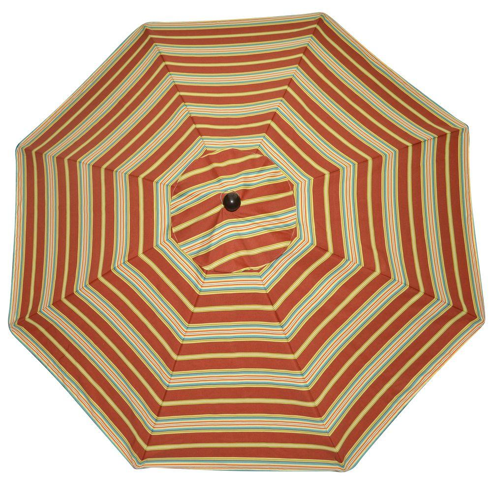 Plantation Patterns 9 ft. Patio Umbrella in Cayenne Stripe-DISCONTINUED