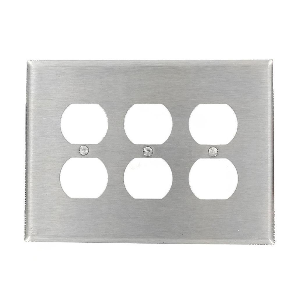 3-Gang 3 Duplex Receptacles, Large/Jumbo Size Wall Plate - Stainless Steel