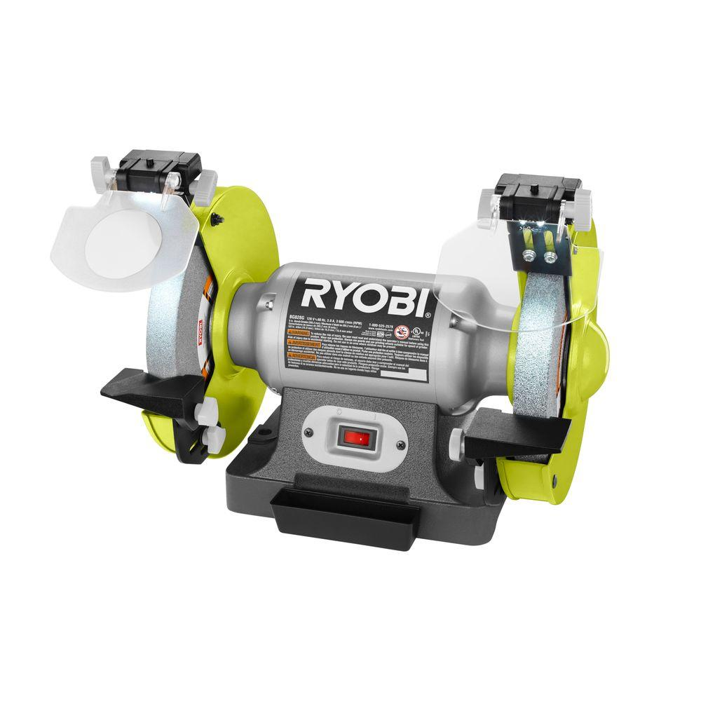 Ryobi 8 In Bench Grinder Green Bg828g The Home Depot
