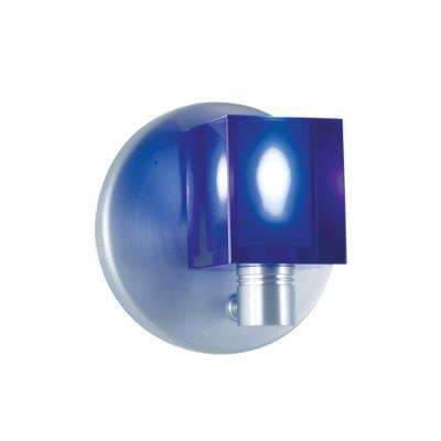 1-Light Low-Voltage Cobalt Blue Companion Wall Sconce with Crystal Cube