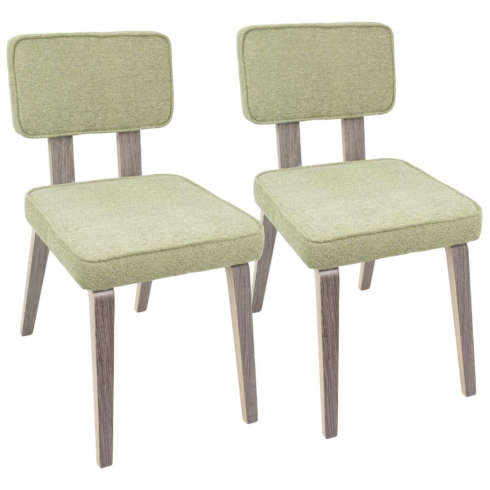 lumisource nunzio light green fabric and light grey wood dining chair set of 2 dc nnz lgy lgn2. Black Bedroom Furniture Sets. Home Design Ideas