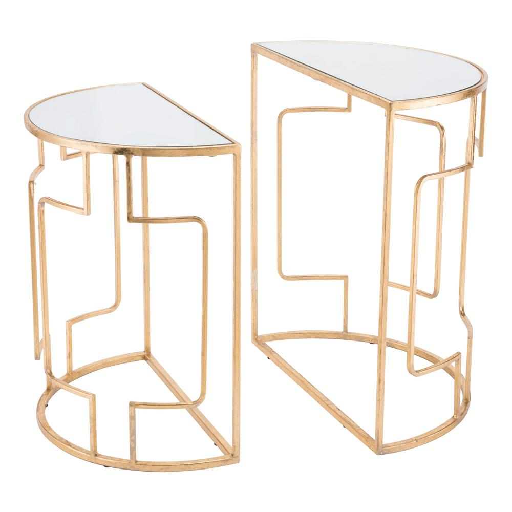 ZUO Roma Gold Side Tables (Set Of 2)