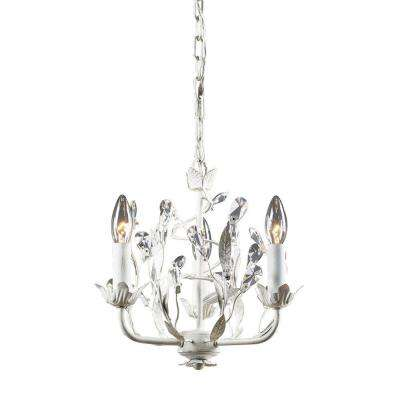 Circeo 3-Light Antique White Ceiling Mount Chandelier